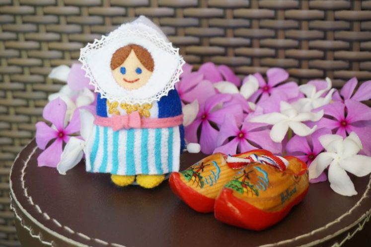 Dutch lady and her clogs. Flowers picked from my partner's garden without permission (shhhh).