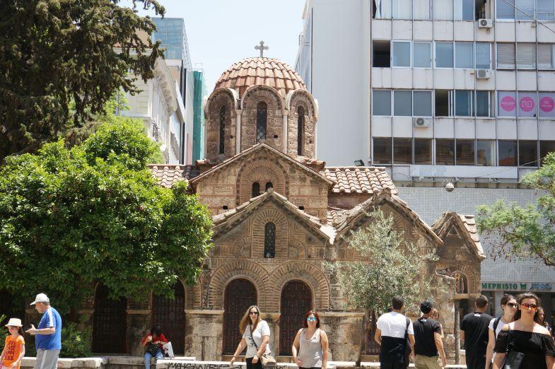 The elegant Church of Panaghia Kapnkareas.